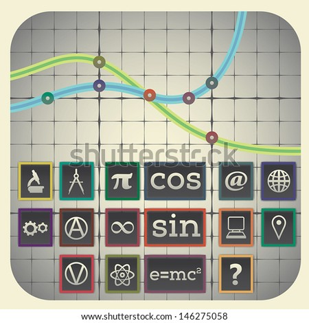 Infographic elements with graph background including sixteen science icons - stock vector