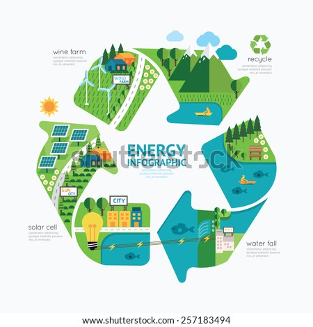 Infographic energy template design.protect world energy concept vector illustration / graphic or web design layout. - stock vector