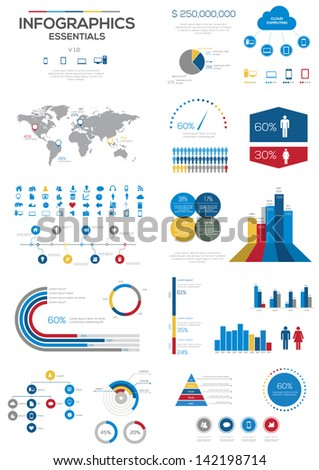 Infographic Essentials vector illustration. World Map and Information Graphics - stock vector
