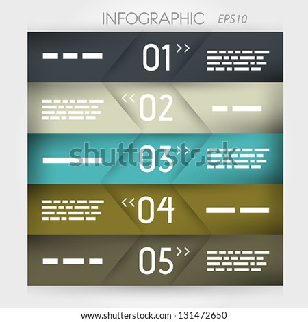 infographic five oblique options in middle. infographic concept. - stock vector