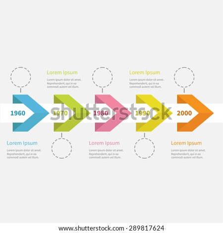 Infographic five step Timeline ribbon arrow dashed circle and text. Template. Flat design. Vector illustration. - stock vector