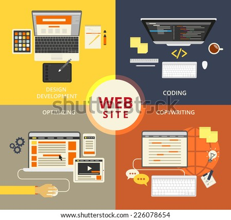 Infographic flat concept illustration of website building - stock vector