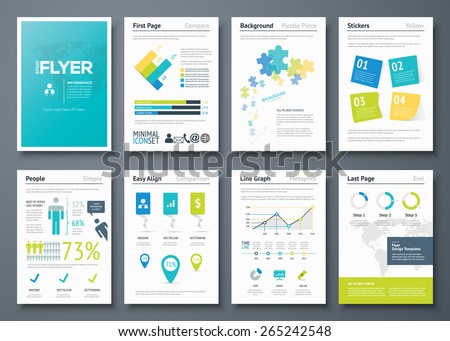 Infographic flyer templates and business vector elements. Use in website, corporate brochure, advertising and marketing. Pie charts, line graphs, bar graphs and timelines. - stock vector
