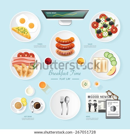 Infographic food business breakfast flat lay idea. salad,meal,toast,news Vector illustration . can be used for layout, advertising and web design. - stock vector