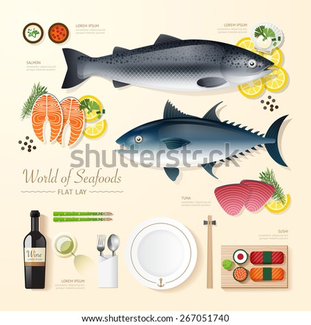 Infographic food business seafood flat lay idea. fish,tuna,salmon,sushi Vector illustration . can be used for layout, advertising and web design. - stock vector