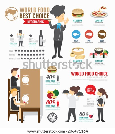 Infographic food world template design . concept vector illustration - stock vector
