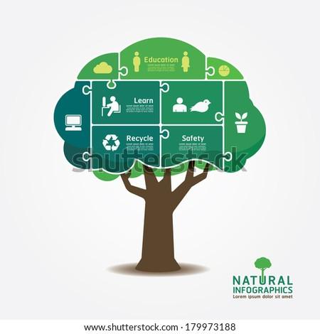 Infographic Green Tree jigsaw banner.environment concept vector illustration. - stock vector