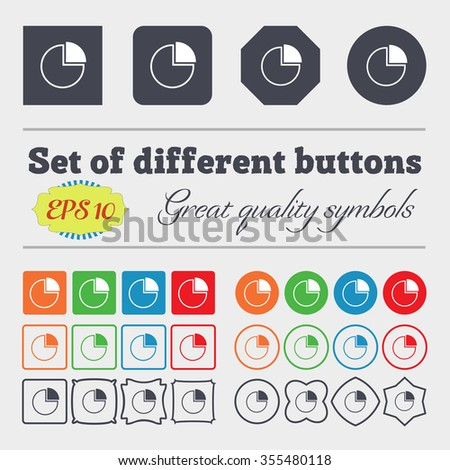 Infographic icon sign. Big set of colorful, diverse, high-quality buttons. Vector illustration
