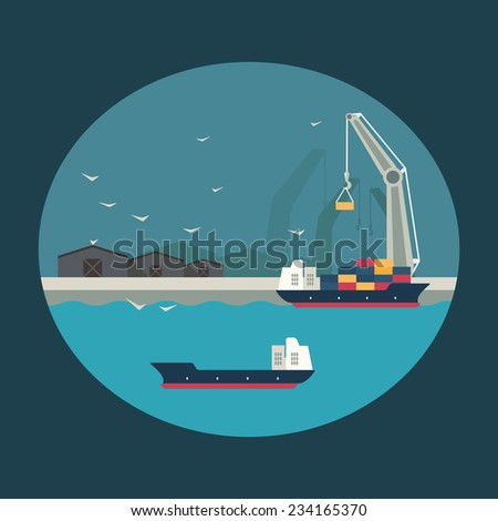 Infographic illustration. Cargo ship with working crane loading containers on board. Flat design - stock vector