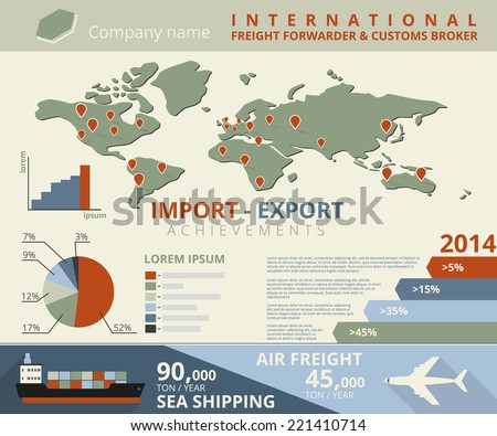 Infographic illustration of import and export achievements for freight forwarder and customs broker - stock vector