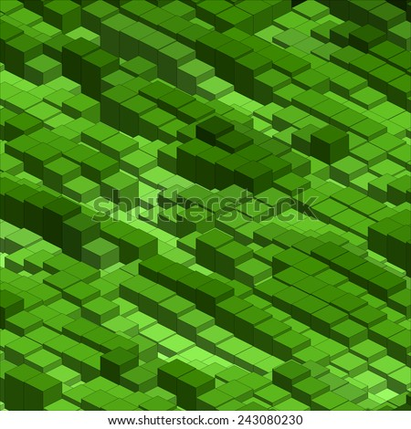 Infographic Isometric Vector Graph, Abstract 3D Chart Green Background. - stock vector