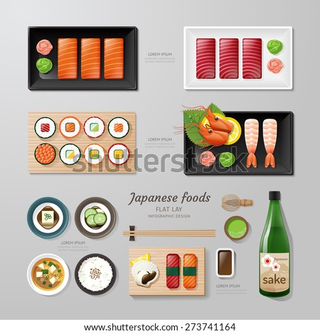 Infographic japanese foods business flat lay idea. Vector illustration hipster concept.can be used for layout, advertising and web design. - stock vector