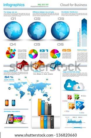 Infographic layout template with world maps. Ideal for global statistics and for every kind of data visualization. Delicate shadows and high costrast colours. - stock vector