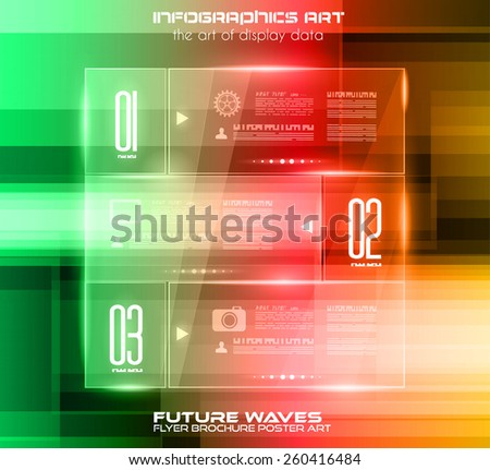 Infographic Layout with glass panels an high tech background to use for cover templates, poster wallpaper, presentation pages, cards and business related advertisement. - stock vector