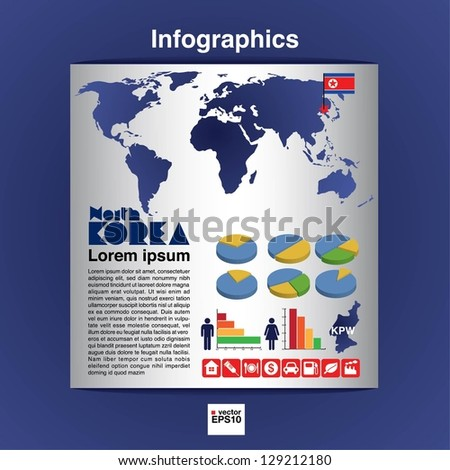 Infographic map of North Korea show population and consumption statistic information.EPS10 - stock vector