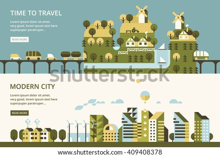 Infographic - modern city, industry, ecosystem and travel. Flat design. Vllage in mountains, mountain tunnel. Transport links - stock vector
