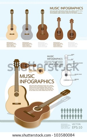 infographic music of guitar set vector - stock vector