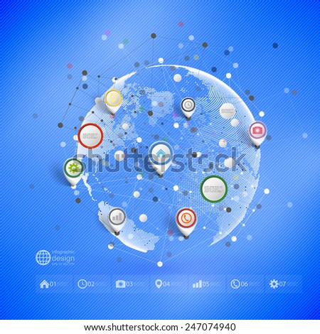 Infographic network with pointer marks for business, template vector. - stock vector