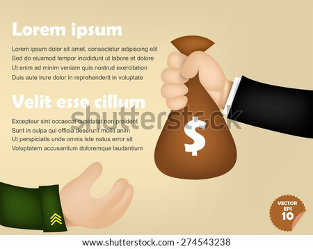 infographic of business man giving money bag to military man, corruption concept - stock vector