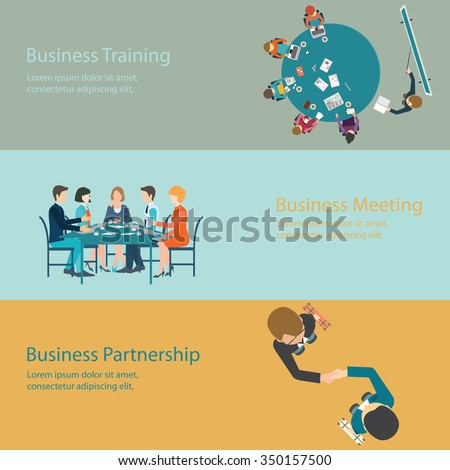 Infographic of Business meeting, office, teamwork, training, brainstorming, business partnership  in flat style, conceptual vector illustration. - stock vector