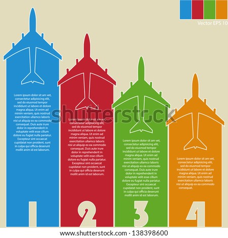 Infographic of Colorful Airplanes with Colorful Background, Vector Illustraton EPS 10. - stock vector