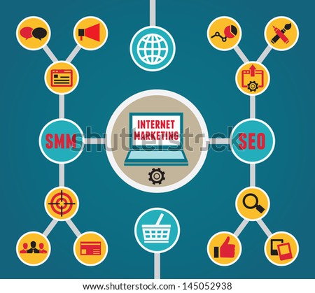 Infographic of internet marketing - vector illustration - stock vector