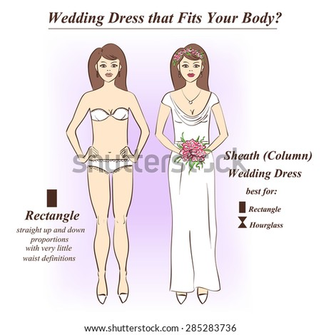 Infographic Sheath Column Wedding Dress That Stock Vector (Royalty ...