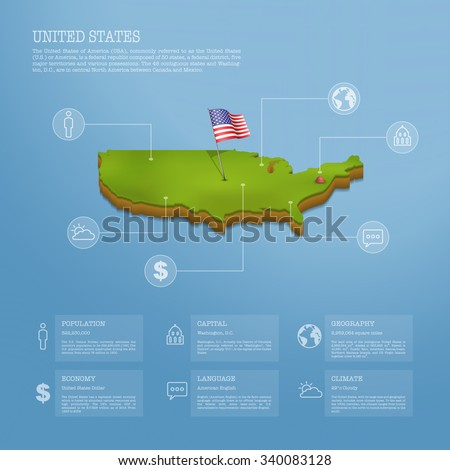 Infographic of United States of America (USA) map eps10 vector illustration - stock vector