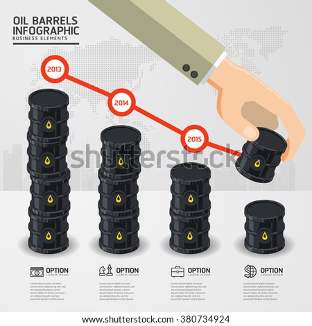 infographic oil barrels and a financial chart on white background. price oil down. business concept. - stock vector