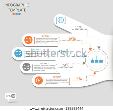 infographic options with abstract hand eps10 - stock vector