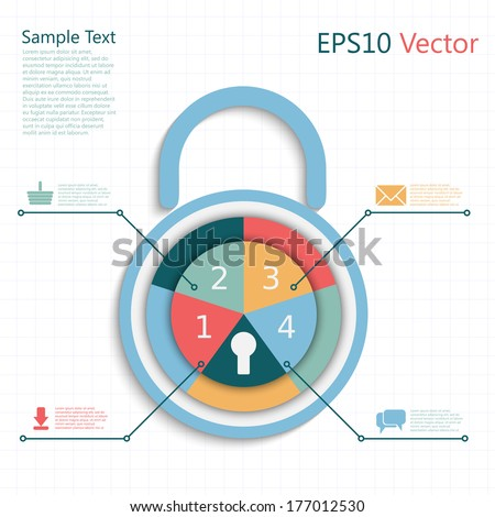 infographic padlock with business steps as a code, protect your mail, purchase, download and talks - stock vector