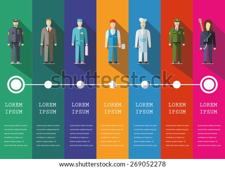 Infographic people of different professions. Flat design illustration - stock vector