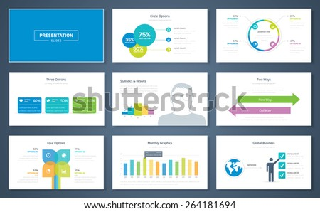 Infographic presentation elements and vector template brochures for business. Information graphics for advertisements, magazines, booklets, websites, prints, marketing etc. - stock vector