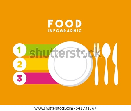 infographic presentation of food with plate and cutlery icons. colorful design. vector illustration