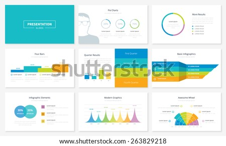 Infographic presentation slide templates and vector brochures for business. Big set of modern infographic vector elements for web, print, magazine, flyer, brochure, media, marketing and advertising. - stock vector