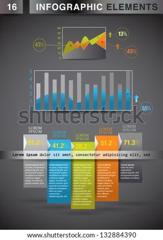 INFOGRAPHIC presentation template graph pie chart element - stock vector