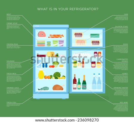Infographic Refrigerator With Food Icons Flat Style Illustration with Product Description - stock vector
