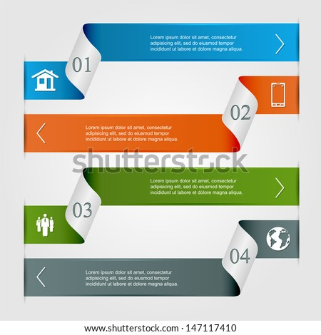 Infographic ribbons, numbered options, modern design, business options banner, can be used for diagram, horizontal curves, step up options, web template, illustration.