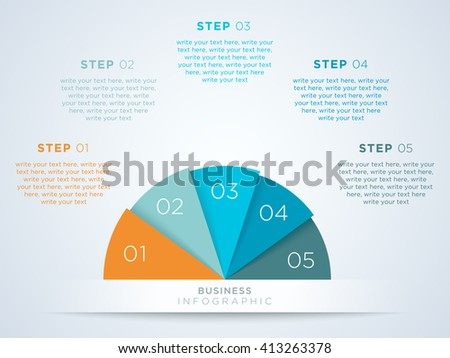 Infographic Semi Circle With Numbered Steps 1 to 5 - stock vector
