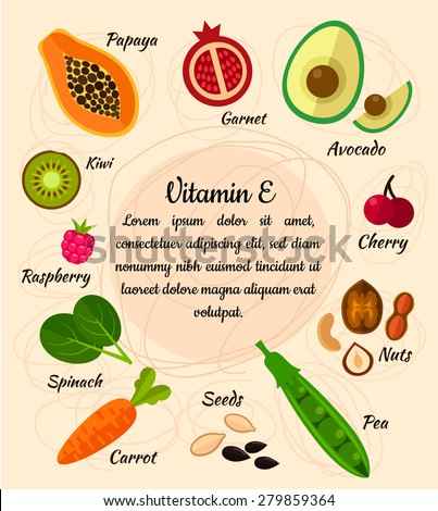 Infographic set of vitamin E and useful products: cherry, pea, carrot, avocado, garnet, nuts, sunflower seed, raspberry, olive, kiwi, spinach, papaya. Healthy lifestyle and diet vector concept.