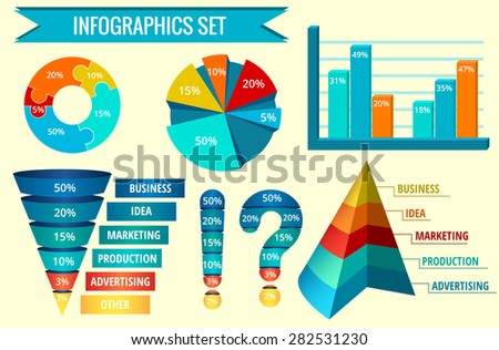 Infographic set or web design template. 3D Funnel. Vector flat illustration - stock vector