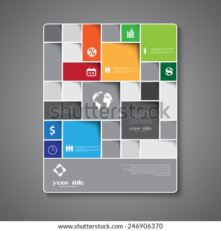 Infographic signs on brochure template - stock vector