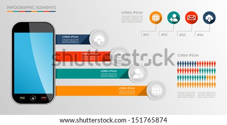 Infographic smart phone design icons text and values concept background illustration. Vector file layered for easy editing. - stock vector