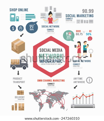 Infographic Social Business template design . concept vector illustration - stock vector