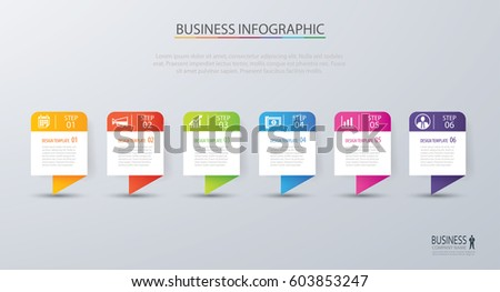 Infographic tab design vector and marketing template business. Can be used for workflow layout, diagram, annual report, web design. Business concept with 6 options, steps or processes.