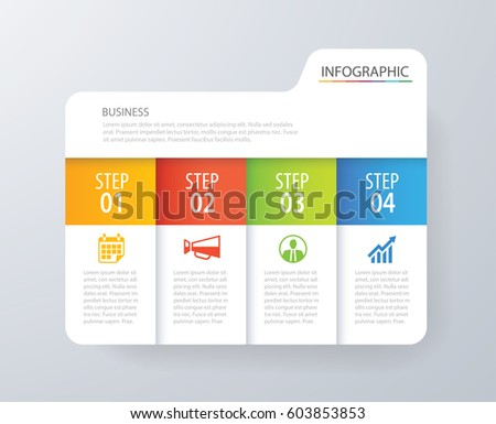 Infographic tab index design vector and marketing template business. Can be used for workflow layout, diagram, annual report, web design. Business concept with 4 options, steps or processes.