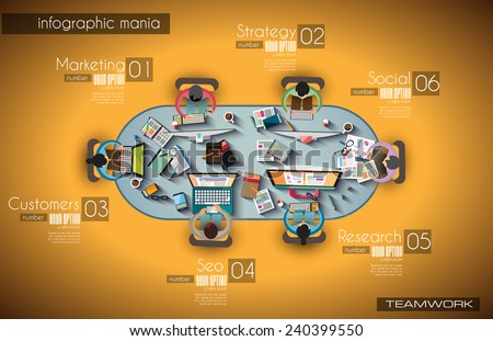 Infographic teamwork and brainsotrming with Flat style. A lot of design elements are included: computers, mobile devices, desk supplies, pencil,coffee mug, sheeets,documents and so on - stock vector