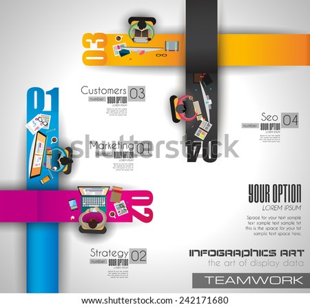 Infographic teamwork and brainstorming with Flat style. A lot of design elements are included: computers, mobile devices, desk supplies, pencil,coffee mug, sheeets,documents and so on - stock vector