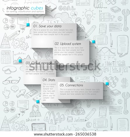 Infographic teamwork and brainstorming with Flat style. A lot of design elements are included: computers, mobile devices, desk supplies, pencil,coffee mug, sheets,documents and so on - stock vector