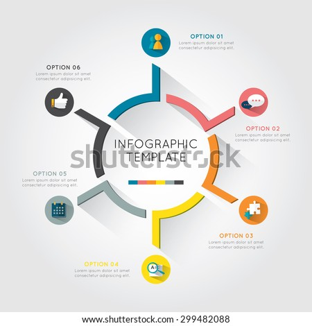 Infographic template colorful circular  with six option and placement text on the white background. - stock vector